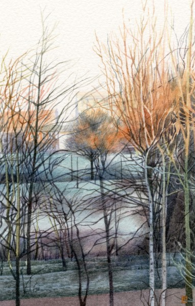 Liz Butler Frosty Morning in the Park watercolour 33 x 33cm