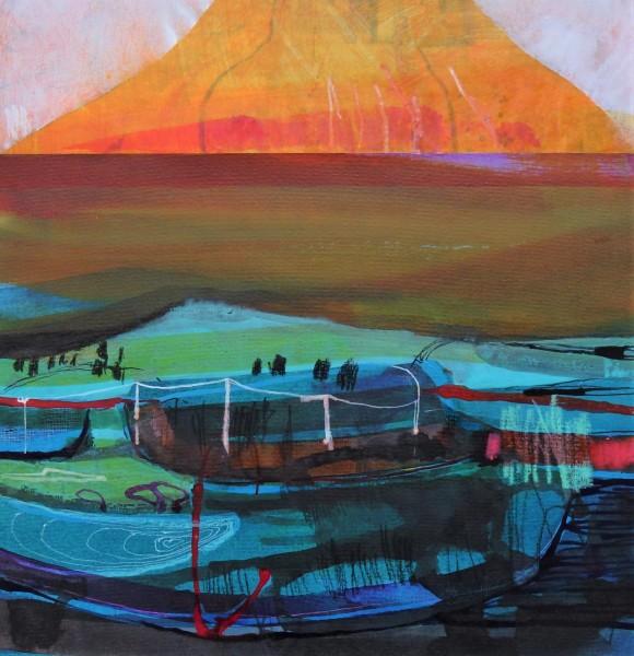 Claire Denny Across the Estuary watercolour & ink Frame: 35 x 35 cm Artwork: 20 x 20 cm