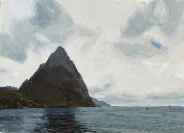 John Newberry Petit Piton, Soufriere, St Lucia watercolour Frame: 33 x 43 cm Artwork: 16 x 23 cm