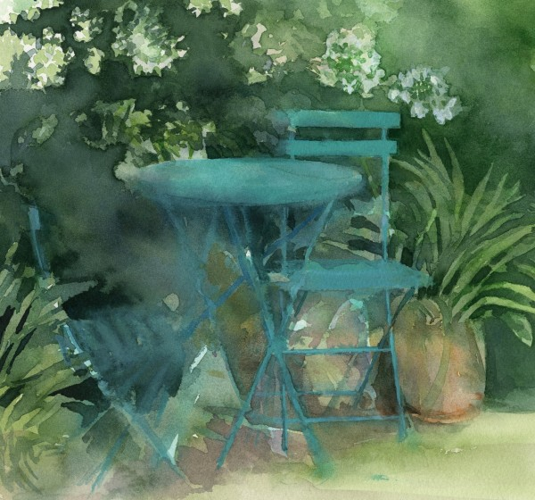 Liz Butler Shady Garden watercolour Artwork: 21 x 22 cm Frame: 38 x 38 cm