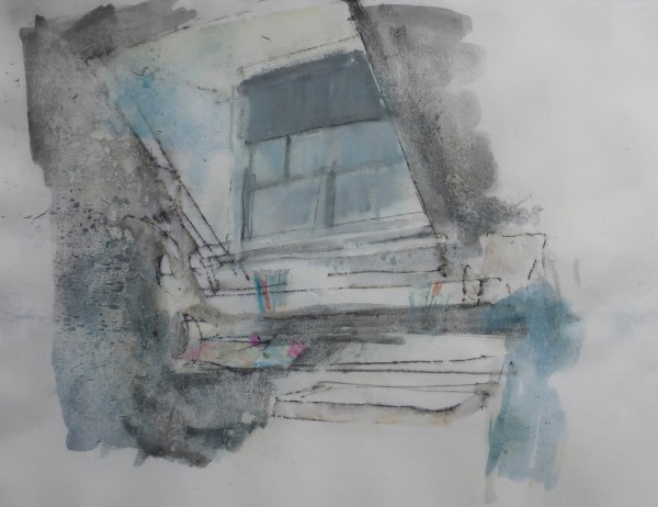 David Hamilton Studio Window ink & watercolour 43x53cm