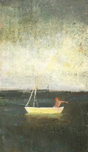 David Brayne Fishing at Dawn pigment and acrylic 32x27cm