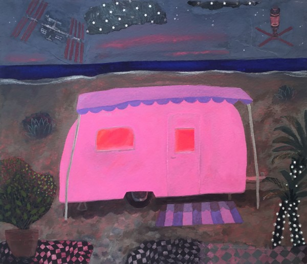 Gertie Young Caravan at the Edge of the World acrylic & collage on card Frame: 39 x 53 cm Artwork: 29 x 43 cm