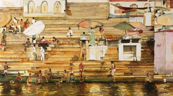 Stuart Robertson Varanasi Shades watercolour 43x60cm
