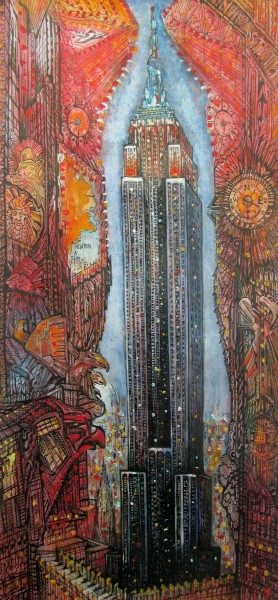 Neil Pittaway Tall Empire watercolour, acrylic with pen & ink 95x49cm