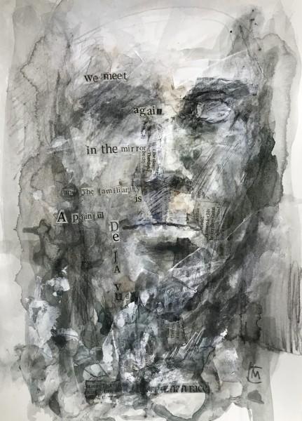 Colin Merrin We Meet Again graphite, acrylic, watercolour & collage Frame: 43 x 32 cm Artwork: 28 x 21 cm
