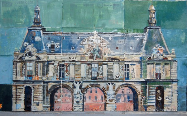 Stuart Robertson Louvre Bridge Entrance watercolour & collage 29x36cm