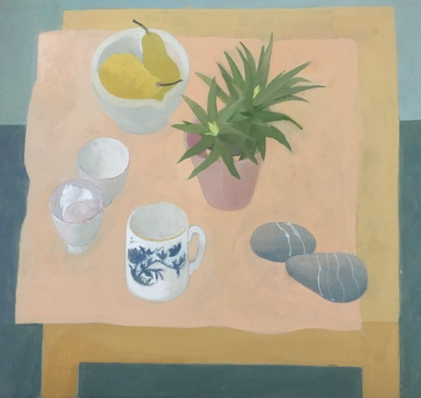 Wendy Jacob Yellow Table with Peach Cloth gouache Artwork: 31 x 29cm