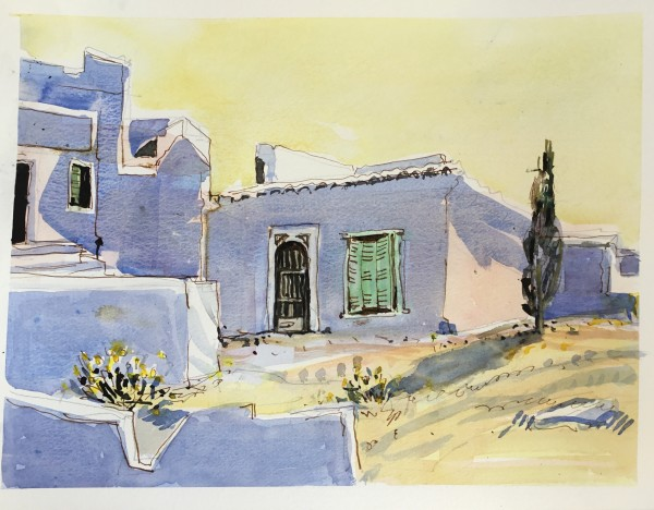 Janet Treloar Cretan Village at Midday watercolour Artwork: 30 x 40 cm