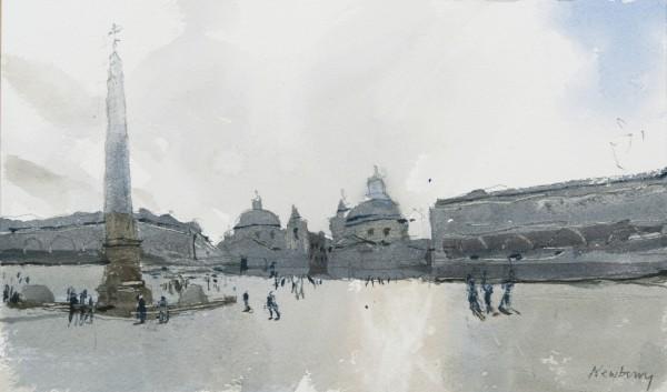 John Newberry Obelisk, Piazza del Popolo, Rome watercolour 33x43cm