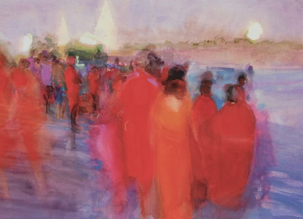 Simon Pierse Mamallapuram Beach, 2020 watercolour Frame: 76 x 96.5 cm Artwork: 51 x 69.5 cm