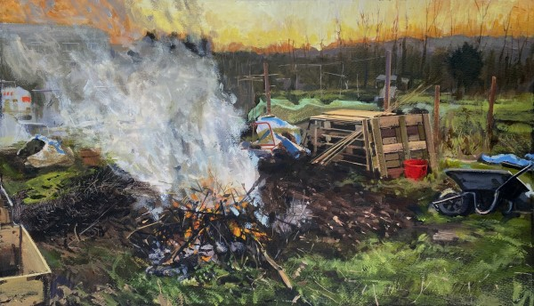 Paul Regan Allotment. 30/12. Bonfire. acrylic on paper Frame: 45 x 55 cm Artwork: 37 x 57 cm