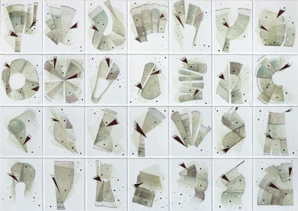 Rika Newcombe Terra V ink on paper Frame: 25 x 30 cm Artwork: 15 x 20 cm
