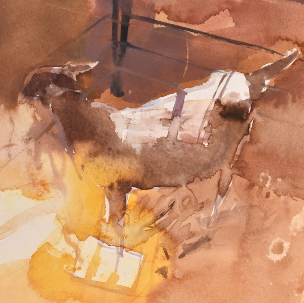 Richard Pikesley Goat Tent, Sunshine watercolour Frame: 34 x 31 cm Artwork: 14 x 13 cm