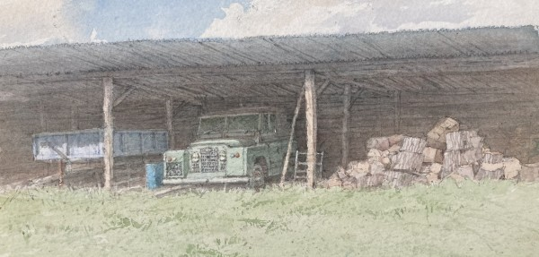 Dennis Roxby Bott Land Rover watercolour Artwork: 31 x 14cm