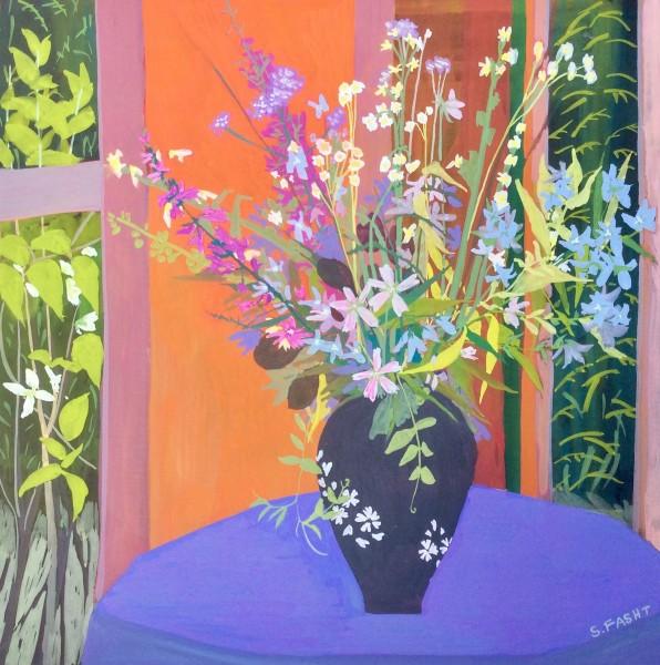 Suzy Fasht Wild Flowers in a Japanese Vase Gouache