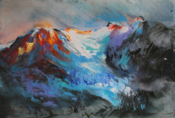 Neil Pittaway Dusk Evening Light on the Glacier du Bonibassey, France acrylic 53x68cm