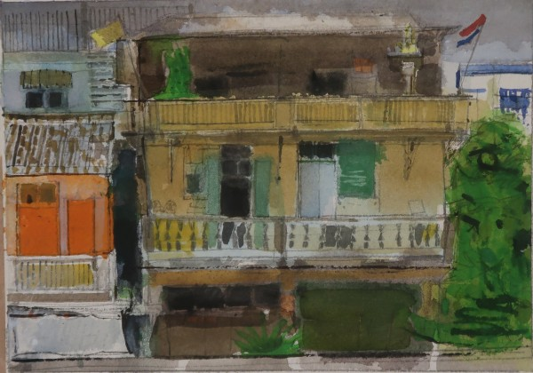 Peter Quinn Flags, Bangkok watercolour on paper Frame: 36 x 47 cm Artwork: 18 x 25 cm