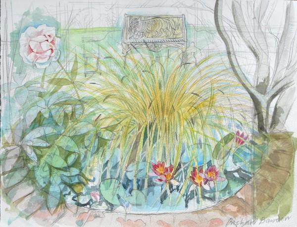 Richard Bawden Water Lillies watercolour Frame: 51 x 58 cm Artwork: 30 x 38 cm