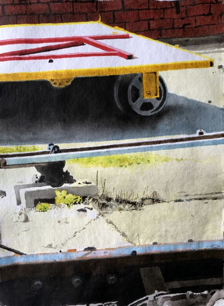 Iain Nicholls Elsecar Railway Study acrylic Frame: 60 x 50 cm Artwork: 40 x 29 cm