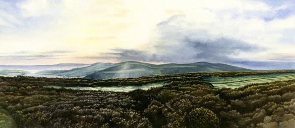 Liz Butler View from Penycloddiau watercolour Artwork: 35 x 15.5cm