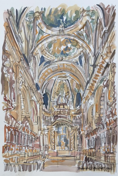 Thomas Plunkett The Quire, St. Paul's Cathedral ink & watercolour 50x67cm