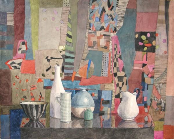 Annie Williams Six Pots watercolour Frame: 58 x 67 cm Artwork: 40 x 50 cm