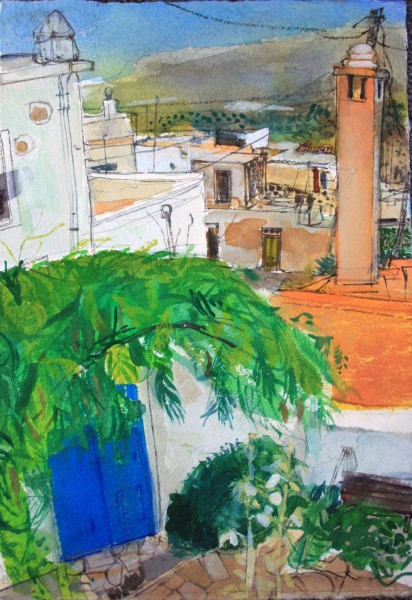 Peter Quinn Terrace View, Crete watercolour 40x30cm