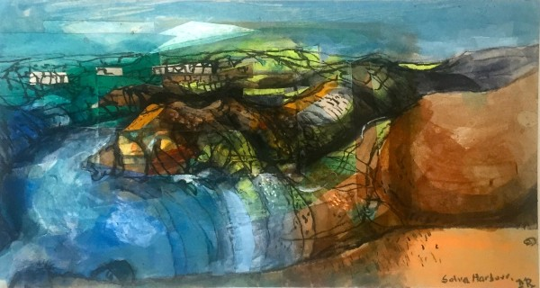 Mark Raggett Solva Harbour mixed media Frame: 44 x 64 cm Artwork: 20 x 37 cm