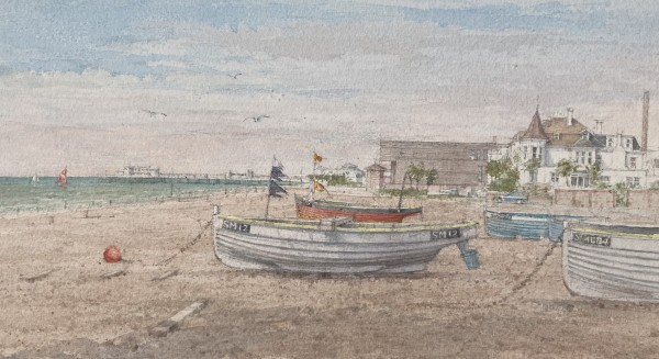 Dennis Roxby Bott Worthing Beach watercolour Artwork: 44 x 24cm