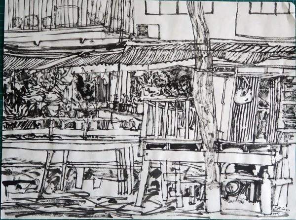 Peter Quinn Bangkok Riverside II ink 45x57cm