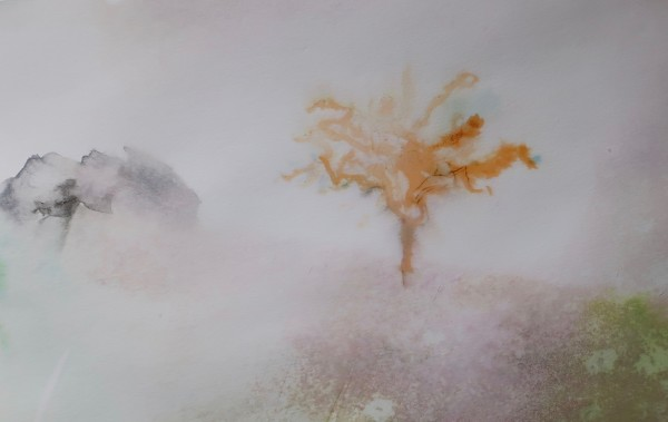 David Hamilton Malham Tree watercolour on paper Frame: 30 x 40 cm Artwork: 13 x 20 cm