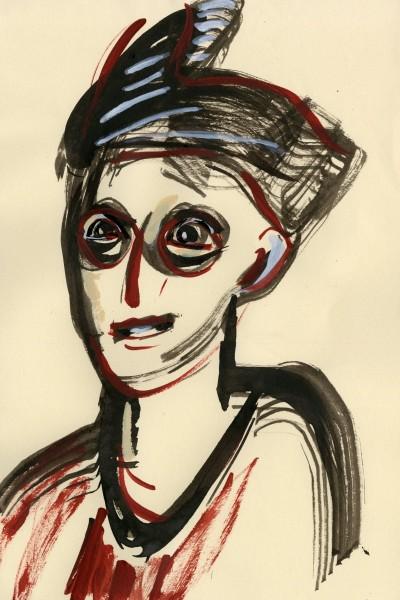 Julia Midgley Hat B&Q Queue acrylic ink & acrylic Frame: 42 x 32 cm Artwork: 29 x 20 cm