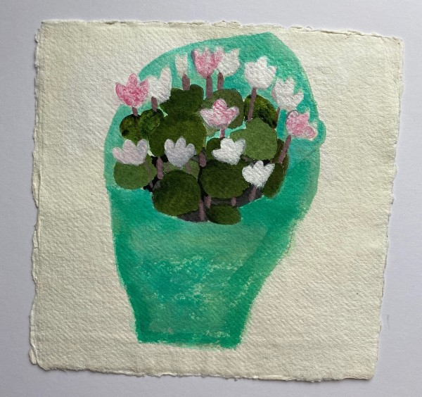 Jill Leman Tiny Cyclamen in Green Tissue Paper watercolour & acrylic on khadi paper 21 x 21cm