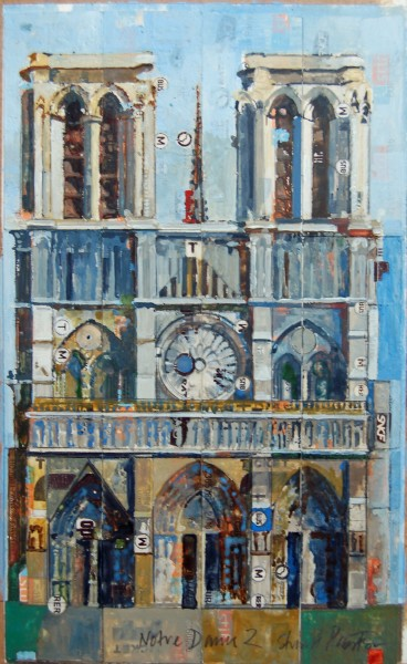 Stuart Robertson Ticket to Notre Dame watercolour & collage
