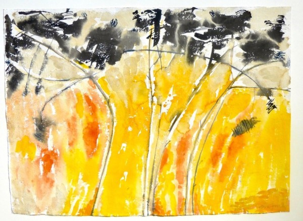 Anne Lynch Yellow Morning watercolour Frame: 78 x 101 cm