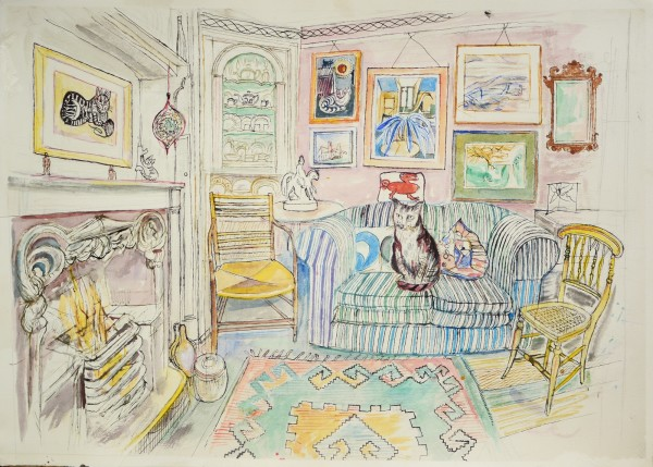 Richard Bawden Sitting Room by the Fire watercolour 73 x 88cm