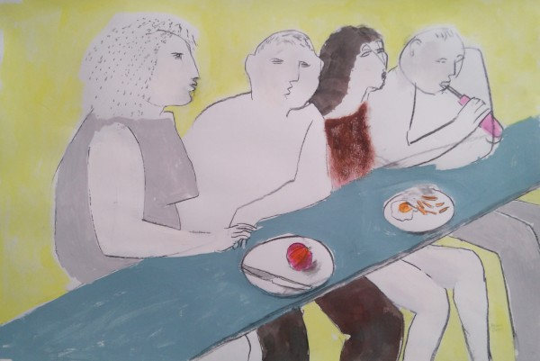 Richard Sorrell Lunch Bar watercolour & charcoal