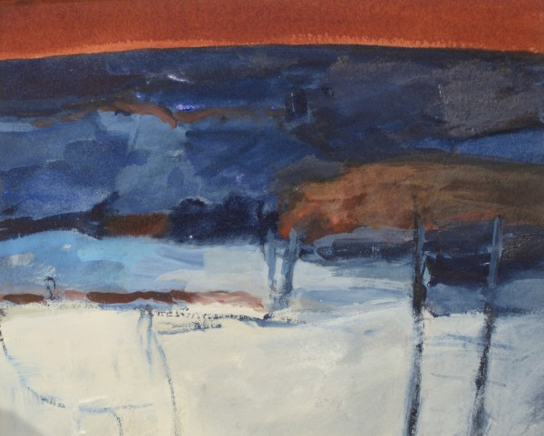Salliann Putman Dark Hills watercolour & gouache Frame: 36 x 42 cm Artwork: 20 x 25 cm