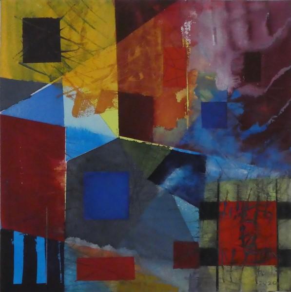 Geoffrey Pimlott Lockdown Blue watercolour 48 x 50cm