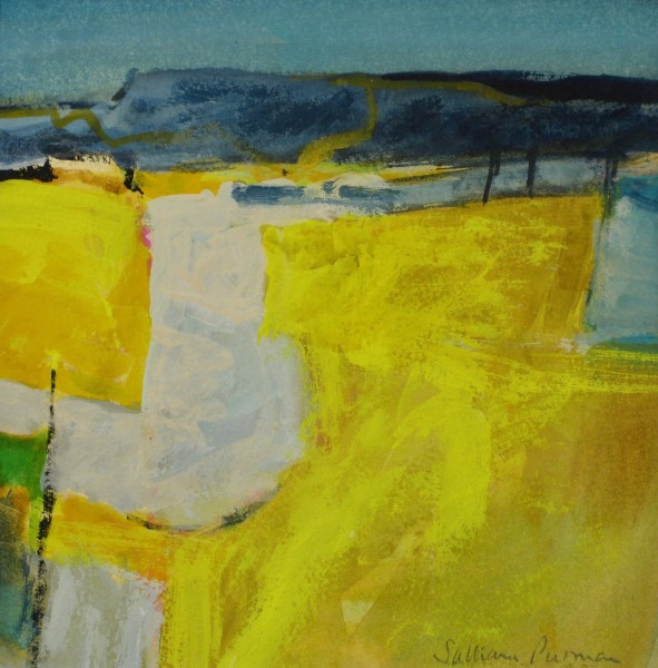 Salliann Putman Yellow Landscape watercolour & gouache 33x33cm
