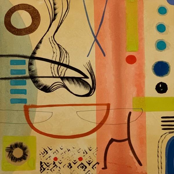 Chloe Fremantle Evocation 17 gouache Frame: 49 x 49 cm Artwork: 33 x 33 cm