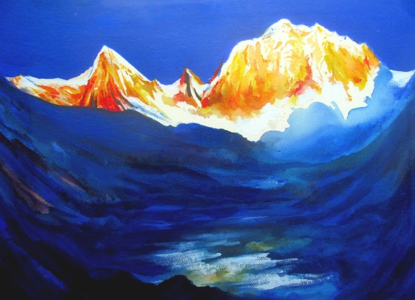 Neil Pittaway The Approach to Annapurna Sanctuary, Nepal watercolour & acrylic 72x91cm