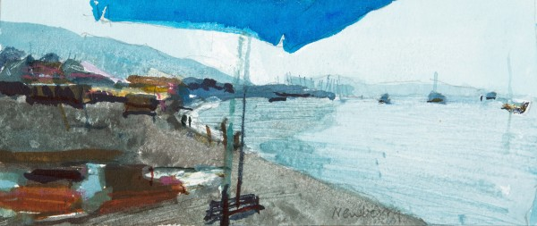 John Newberry Early Morning Beach, Bodrum, Turkey watercolour Frame: 30 x 41 cm Artwork: 8 x 19 cm
