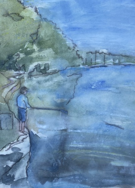 Thomas Plunkett Boy Fishing, Helford River, Cornwall ink & watercolour Frame: 48 x 35 cm Artwork: 30 x 20 cm