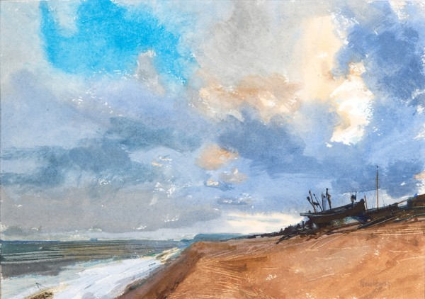 John Newberry Evening Clouds, Deal Beach watercolour Frame: 41 x 54 cm Artwork: 23 x 32 cm