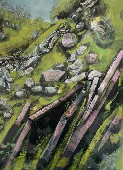 Mark Raggett Waterfall near Pont ar Daf mixed media Artwork: 28 x 38cm