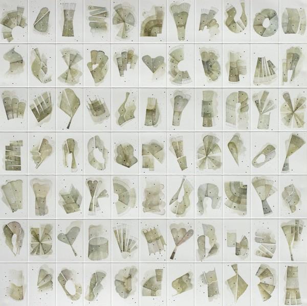Rika Newcombe Terra No 1 ink Frame: 50 x 50 cm Artwork: 40 x 40 cm