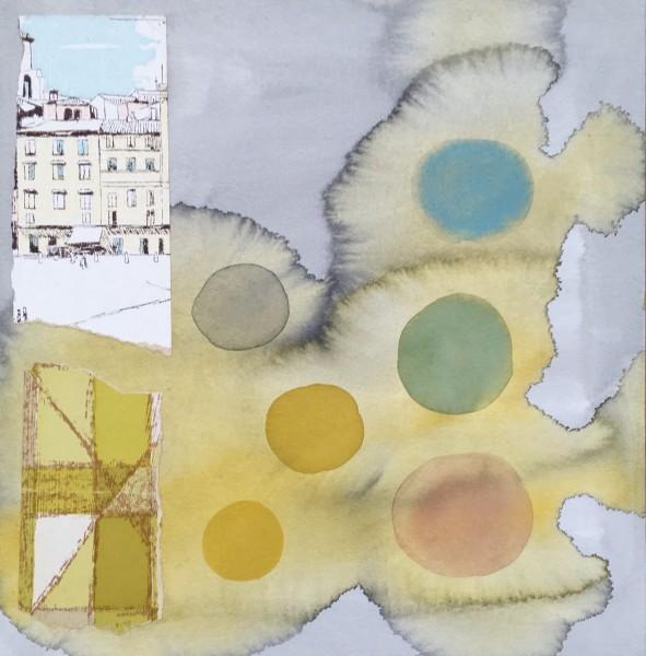 Chloe Fremantle Nostalgia Pale Circles 21 gouache & collage Frame: 49 x 49 cm Artwork: 35 x 35 cm