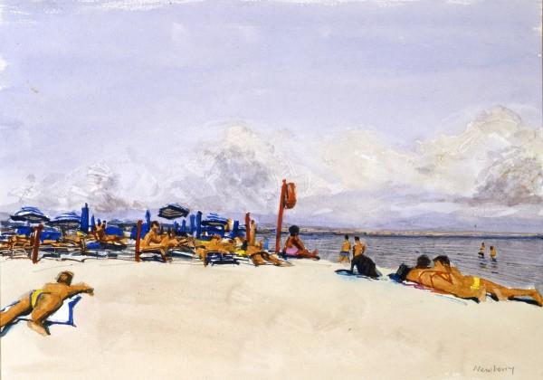 John Newberry Il Poeto Beach, Cagliare, Sardinia watercolour Frame: 44 x 54 cm Artwork: 23 x 32 cm